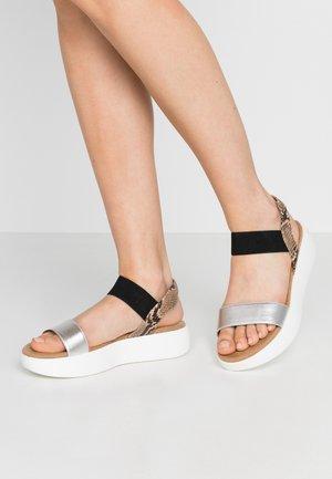 Platform sandals - silver/rose