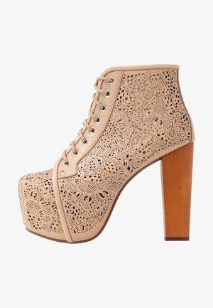 LITA CUT - High heeled ankle boots - tan
