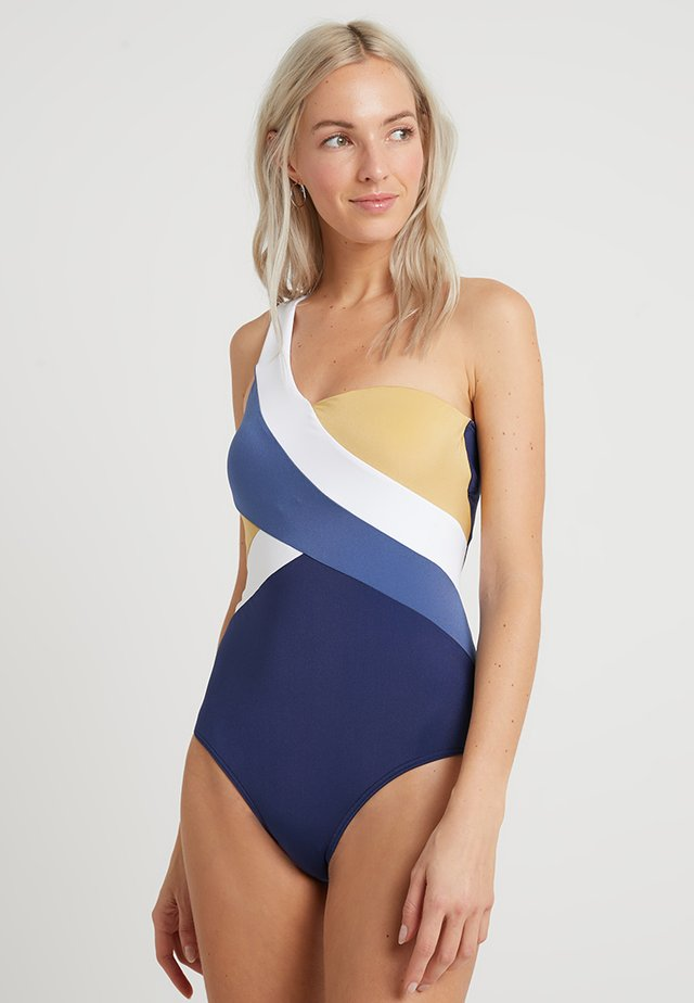 ONE SHOULDER - Badeanzug - navy/gold