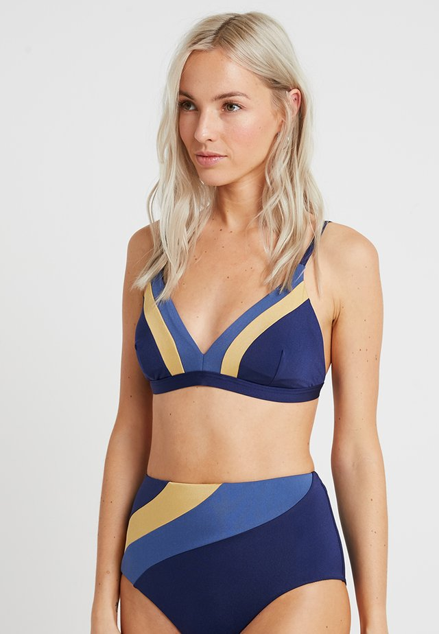 CROP - Bikinitoppe - navy/gold