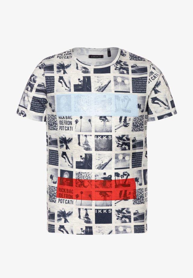 TEE - T-shirt imprimé - beige clair chiné