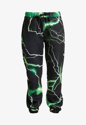 PRINTED CUFF HEM - Pantalones deportivos - black/green