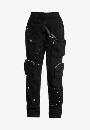 ROUND POCKET CARGO - Relaxed fit -farkut - black