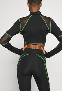 Jaded London - HIGH WAIST KNICKER SEAM WITH SHEER PANELS - Leggings - Trousers - green/black