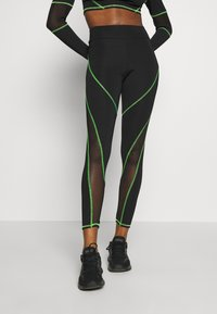 Jaded London - HIGH WAIST KNICKER SEAM WITH SHEER PANELS - Leggings - Trousers - green/black - 0