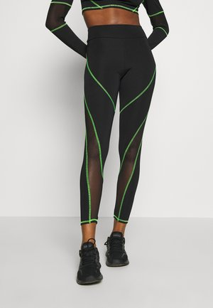 HIGH WAIST KNICKER SEAM WITH SHEER PANELS - Legging - green/black