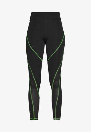 HIGH WAIST KNICKER SEAM WITH SHEER PANELS - Legging - green/black