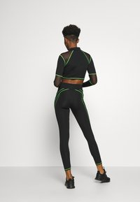 Jaded London - HIGH WAIST KNICKER SEAM WITH SHEER PANELS - Leggings - Trousers - green/black - 2