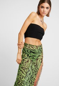 Jaded London - SWIRL PRINT MIDAXI SKIRT WITH CONTRAST THREAD - Pennkjol - black/neon green - 3