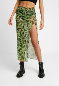 Jaded London - SWIRL PRINT MIDAXI SKIRT WITH CONTRAST THREAD - Pennkjol - black/neon green - 0