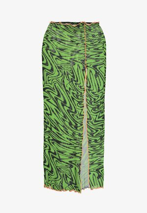 SWIRL PRINT MIDAXI SKIRT WITH CONTRAST THREAD - Gonna a tubino - black/neon green