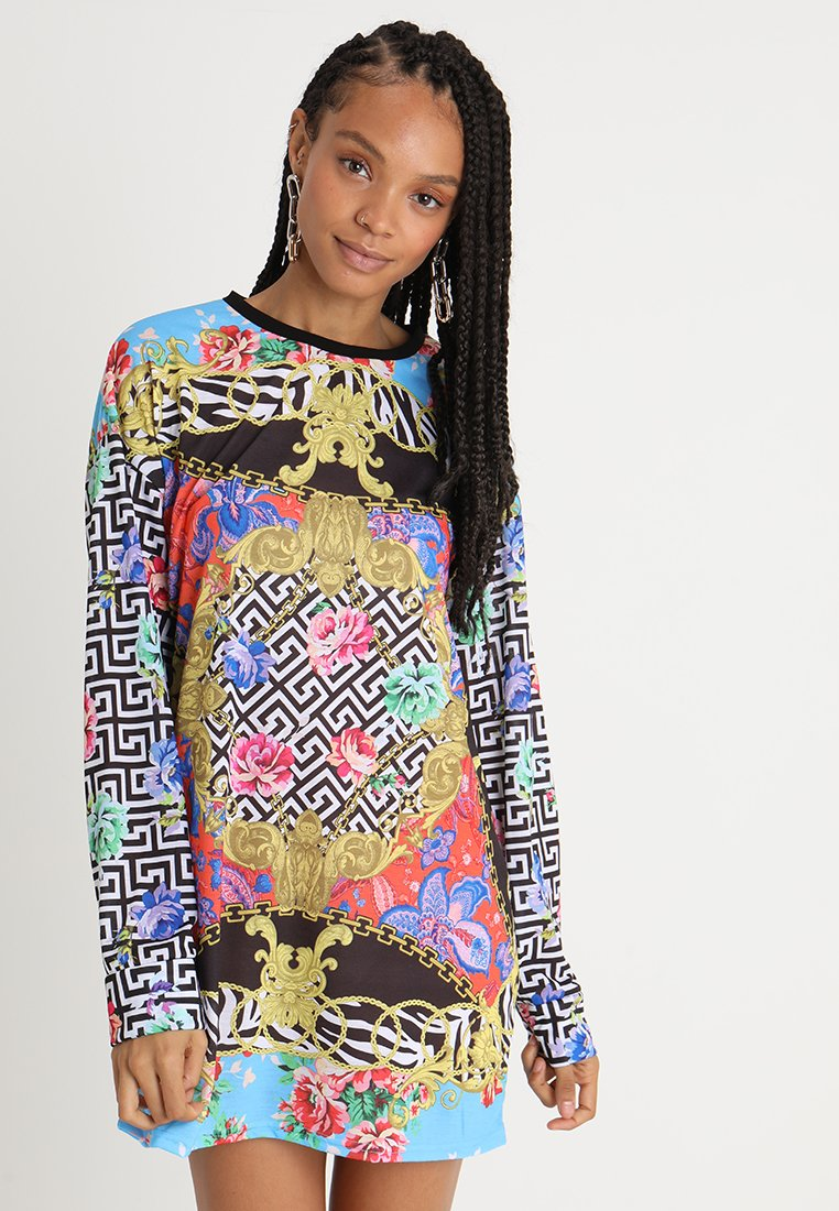 Jaded London - LONG SLEEVE DRESS SCARF PLACEMENT PRINT - Robe en jersey - multi-coloured