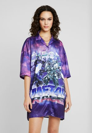 OVERSIZED REVERE COLLAR SHIRT DRESS - Day dress - multi-coloured