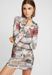 Jaded London - ZIP THROUGH HIGH NECK LONG SLEEVE DRESS - Pouzdrové šaty - multicoloured - 3