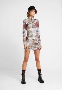Jaded London - ZIP THROUGH HIGH NECK LONG SLEEVE DRESS - Pouzdrové šaty - multicoloured - 1