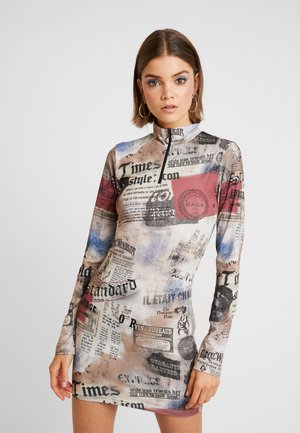 ZIP THROUGH HIGH NECK LONG SLEEVE DRESS - Shift dress - multicoloured