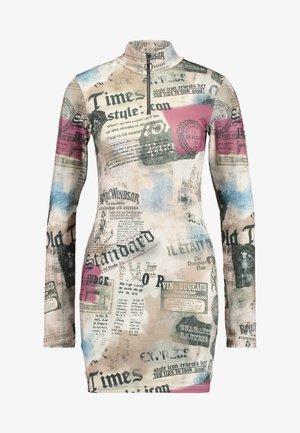 ZIP THROUGH HIGH NECK LONG SLEEVE DRESS - Shift dress - multicoloured