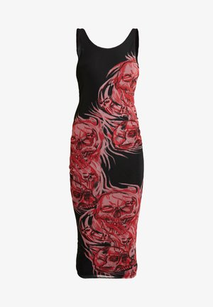 DOUBLE LAYER VEST DRESS - Day dress - black/red