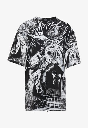 OVERSIZED PRINTED DRESS - Vardagsklänning - black/white