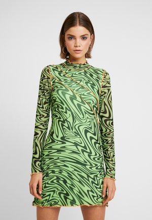PANELLED BODYCON DRESS WITH CONTRAST BABYLOCK - Day dress - neon
