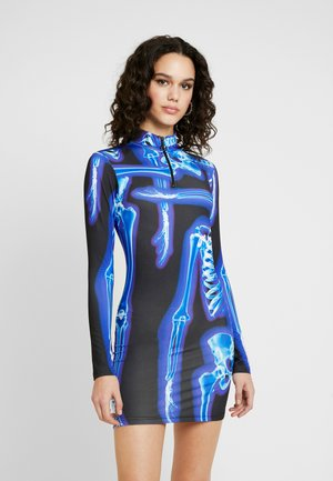 HIGH NECK LONG SLEEVE ZIP NECK MINI DRESS - Kotelomekko - black/blue