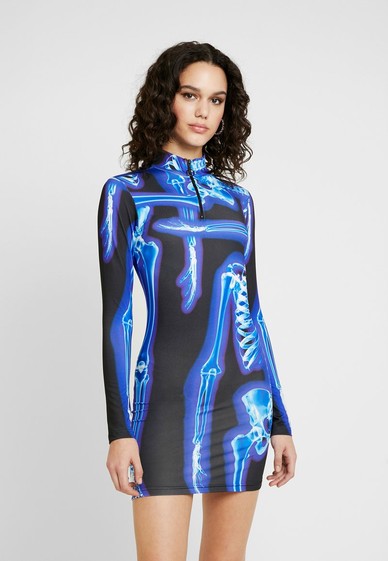 Jaded London - HIGH NECK LONG SLEEVE ZIP NECK MINI DRESS - Shift dress - black/blue
