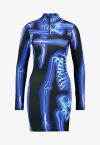 Jaded London - HIGH NECK LONG SLEEVE ZIP NECK MINI DRESS - Shift dress - black/blue - 3