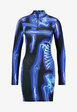 HIGH NECK LONG SLEEVE ZIP NECK MINI DRESS - Etui-jurk - black/blue