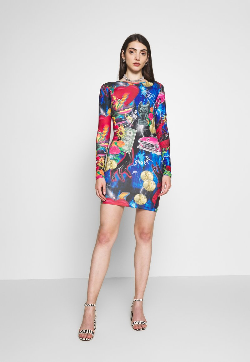 Jaded London - MINI BODYCON DRESS WITH HEART BACK DETAIL - Shift dress - retro 80's collage print