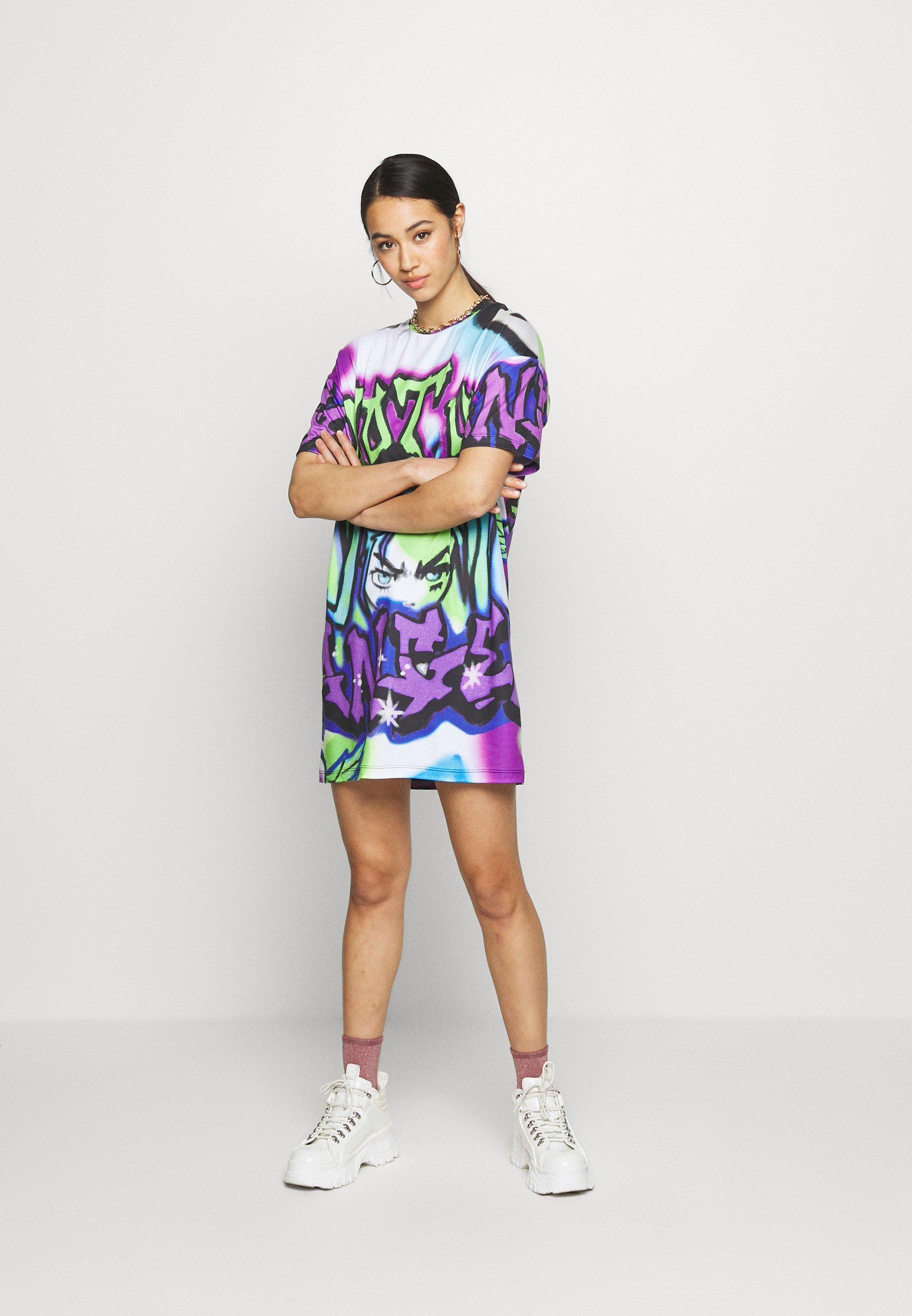 Jaded London Jerseyklänning - Bright Graffiti Print