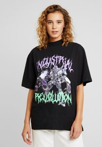 Jaded London - HIGH NECK SHORT SLEEVED - Print T-shirt - black revolution - 0