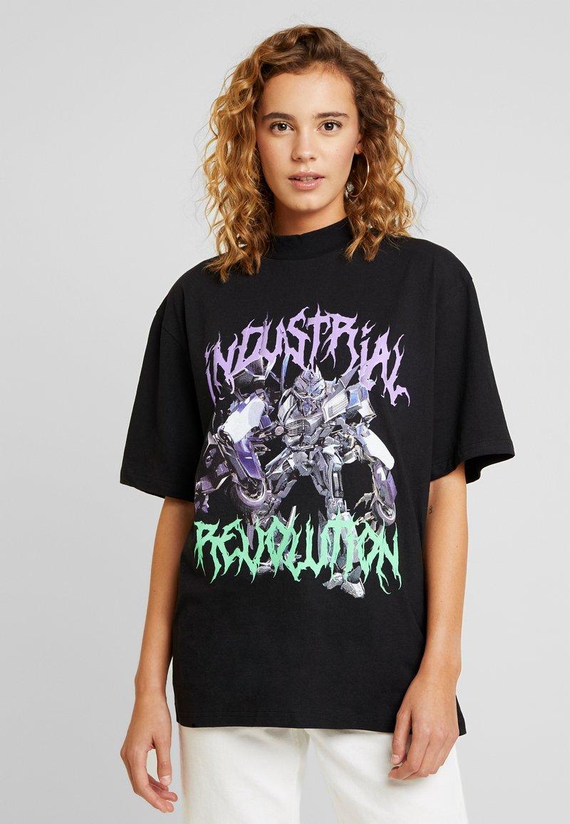 Jaded London - HIGH NECK SHORT SLEEVED - T-shirt imprimé - black revolution