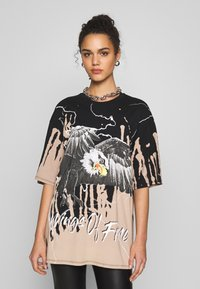 Jaded London - OVERSIZED ROCK TEE - Print T-shirt - eagle print - 0