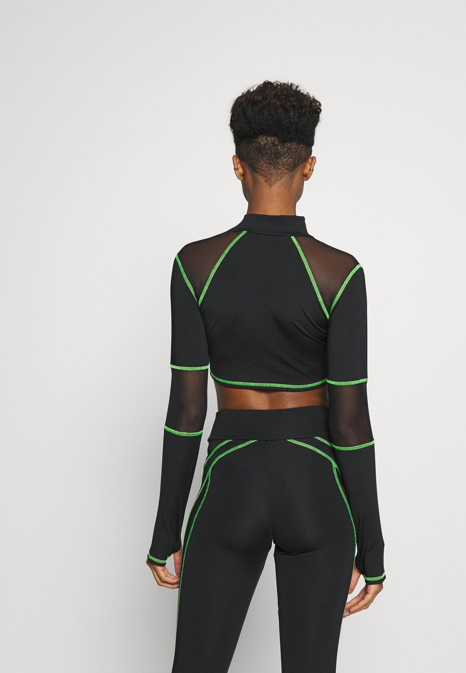 Jaded London Sport High Neck Long Sleeve Top - Långärmad Tröja Green/black