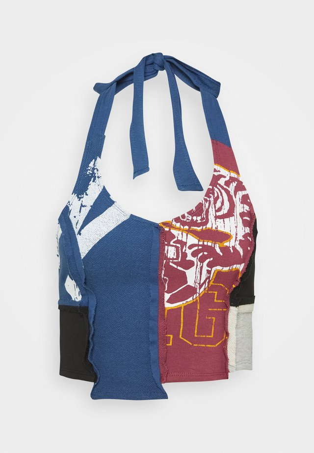 CUT SEW HALTER TOP WITH DISTRESSED EDGES MIX VARSITY  - Top - multicolor