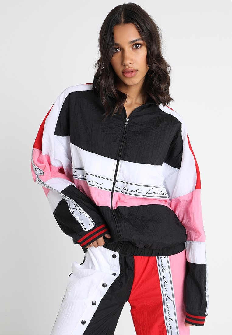 Jaded London - PANELLED CRINKLE WITH TAPING - Veste légère - red/white/pink