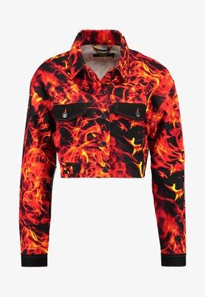 FLAME PRINT CROPPED JACKET - Kurtka jeansowa - black