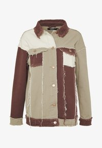 Jaded London - PATCHWORK SQUARE NECK JACKET WITH FRAYED SEAMS - Jeansjacke - brown - 5