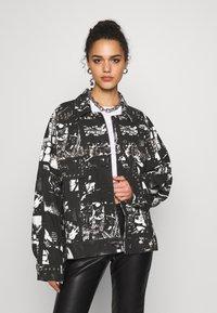 Jaded London - SLOUCHY JACKET WITH STUDDING - Denim jacket - black/white - 0