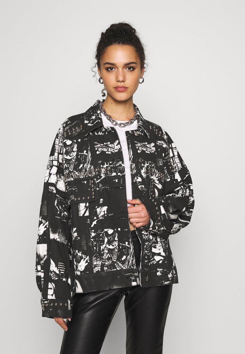 Jaded London - SLOUCHY JACKET WITH STUDDING - Denim jacket - black/white