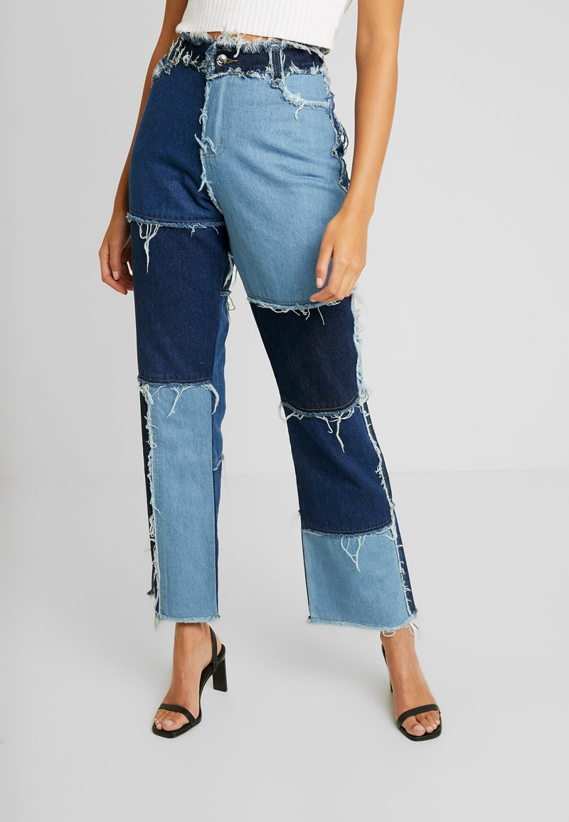 Jaded London - PATCHWORK  - Džíny Straight Fit - blue denim