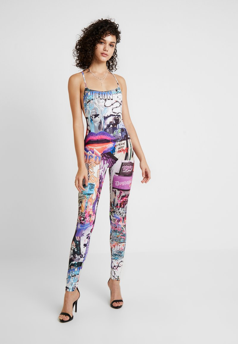 Jaded London - SQUARE NECK CATSUIT - Jumpsuit - lips collage print