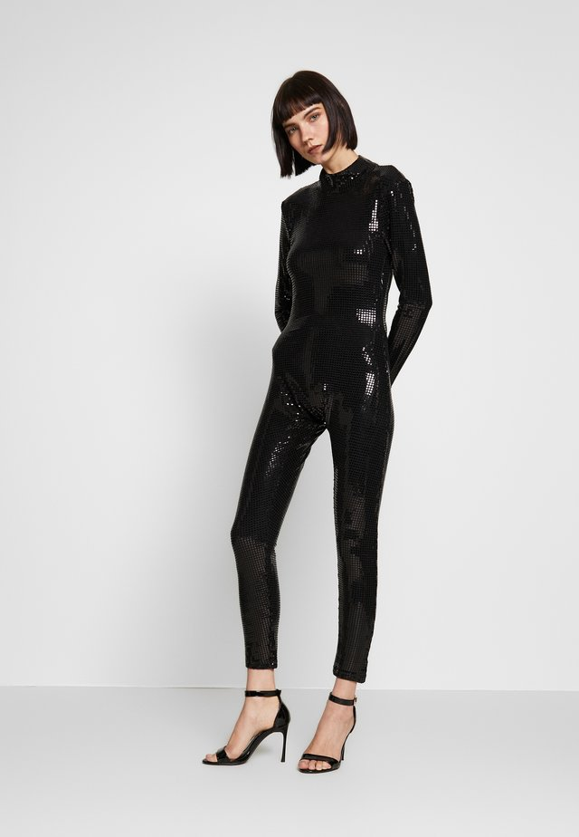 LONG SLEEVE LUREX CATSUIT WITH THONG BACK DETAIL - Jumpsuit - black