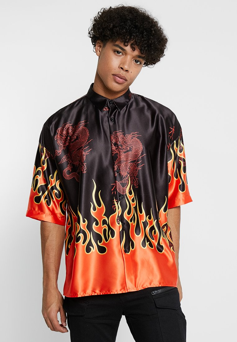 Jaded London - ORIENTAL FLAME OVERSIZED FIT - Camicia - black/red