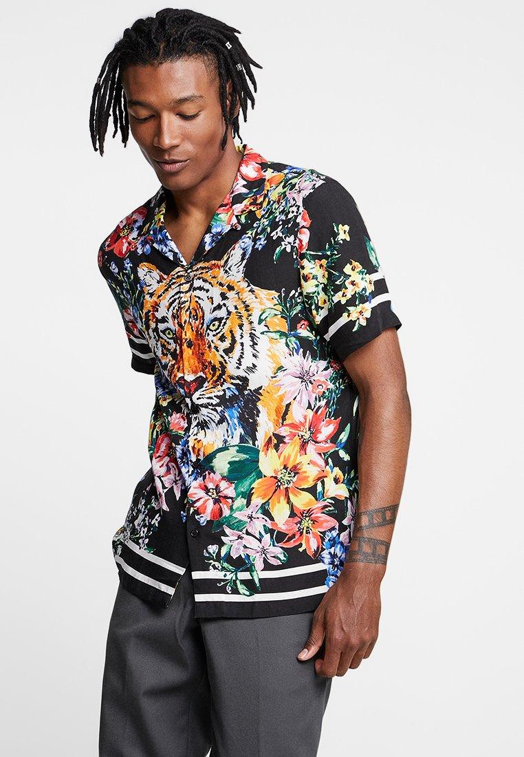 Jaded London - TIGER FLORAL REVERE  - Camicia - black