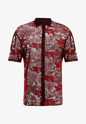 SHEER FLOCKED DRAGON SHIRT - Koszula - red