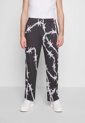 BARBED WIRE PLISSE WIDE LEG - Kalhoty - black