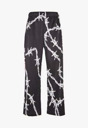 BARBED WIRE PLISSE WIDE LEG - Tygbyxor - black