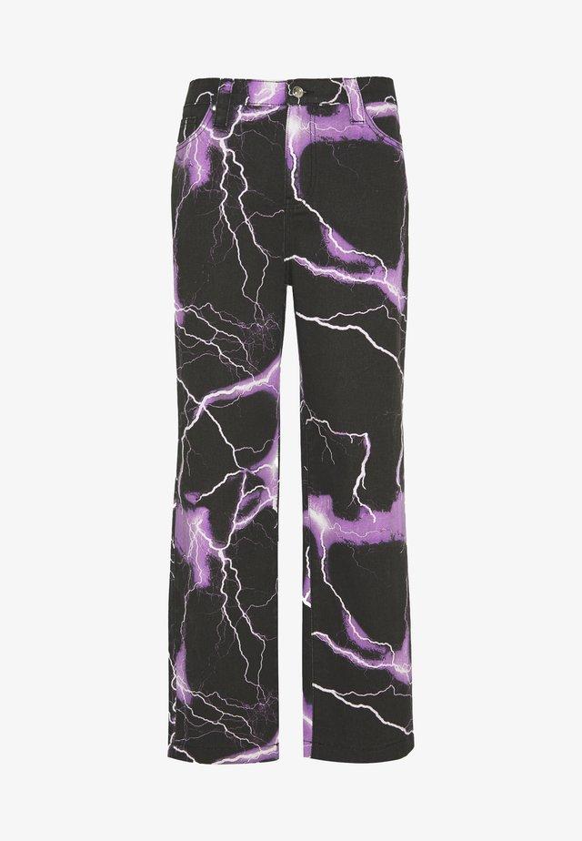 PURPLE LIGHTNING SKATE JEAN - Jeans baggy - black/purple