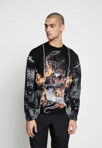 Jaded London - CUT AND SEW SKULL FLAME TOP - T-shirt à manches longues - black - 0